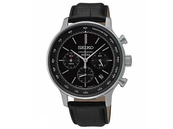 세이코 SEIKO 역수입 크로노그래프 맨즈 손목시계 SSB171P1 블랙 레더 벨트