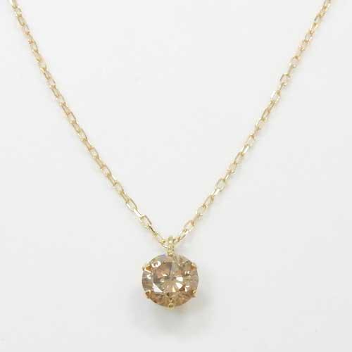 18金ゴールド ライトブラウンダイヤモンド 0.4カラット(0.4ct SI2)ペンダントネックレス【送料無料】
