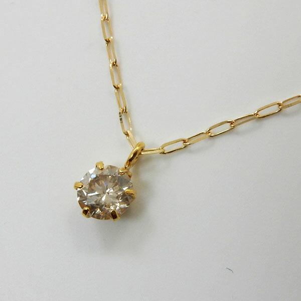 10金(K10) ダイヤモンド 0.1ct(I-1クラス)六本爪プチネックレスゆうパケット発送は送料無料です