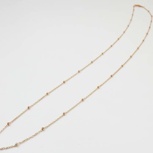 18金ゴールド/18金ピンクゴールド/18金ホワイトゴールド3種よりお選び下さい。バーラチェーン(幅1.0mm 長さ40cm)送料無料