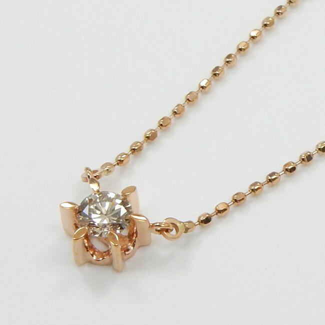 10金ピンクゴールド/10金ホワイトゴールド2種類からお選びいただけます。ライトブラウンダイヤモンド 0.15ct(SI2) ネックレス