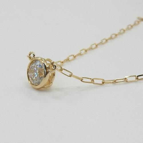 18金ゴールド ライトブラウンダイヤモンド(0.33カラット)SIクラス ペンダント ネックレス(長光小豆チェーン40センチ)送料無料