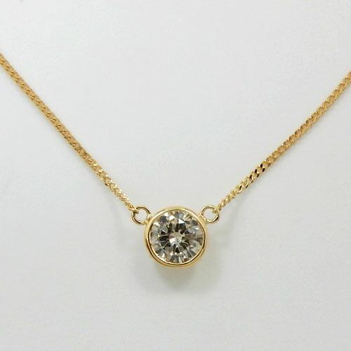 18金ゴールド ライトブラウンダイヤモンド(0.33カラット)SIクラス ペンダント ネックレス(喜平チェーン 40センチ)送料無料