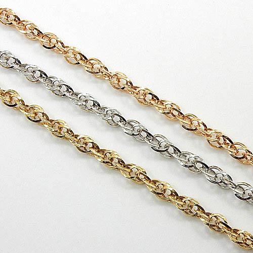 1.3ミリ幅 60センチ 18金ゴールド/ホワイトゴールド/ピンクゴールド ダブルシャインチェーン(幅1.3mm 全長約60cm)一週間前後発送可