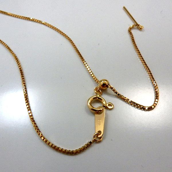 あす楽 スライドピン長さ60センチ 0.8ミリ幅18金ゴールド ベネチェーンネックレス(幅0.8mm 長さ60cm/長さ調整可能)送料無料