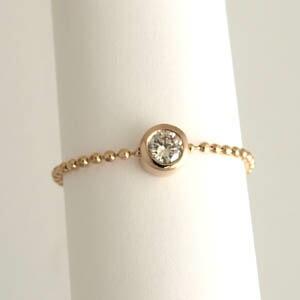 ダイヤモンド リング typaAA0.1カラット(SI2 I) 一粒 チェーンリング18金ピンクゴールド/18金ホワイトゴールド2種類からお選びいただけます送料無料