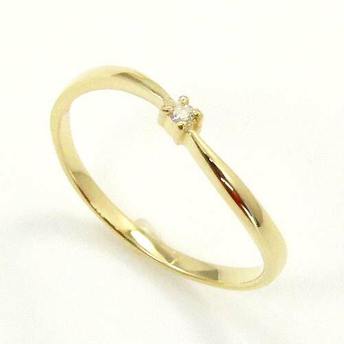 ダイヤモンド リング 0.01ct(VSクラス) 一粒 ピンキー18金ゴールド(K18 ダイヤ 0.01カラット ピンキーリング)送料無料 即納品(4日前後発送)