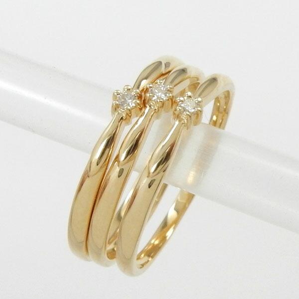 ダイヤモンド リング 0.01ct(VSクラス)一粒 ピンキー 18金3本セット(K18 ダイヤ 0.01カラット ピンキーリング)【送料無料】