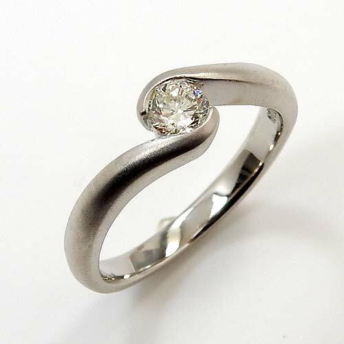 プラチナ(Pt900) ダイヤモンド 0.2カラット typeAAA 一粒 つや消しリング 送料無料
