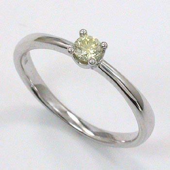 18金ゴールド(K18)、ホワイトゴールド(K18WG)ライトイエローダイヤモンド 0.1カラット 四本爪 リング 送料無料