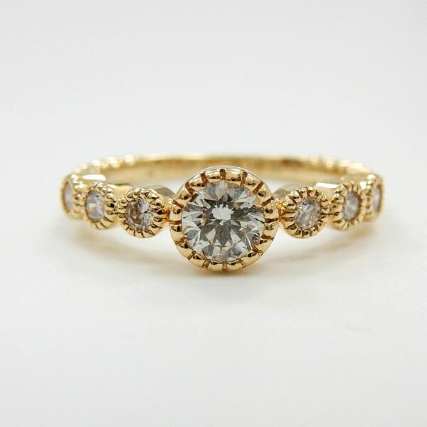 18金 0.4カラットダイヤモンド R K18PG/K18YG(青金)/K183種類からお選びいただきます。天然ダイヤリング typeAAAA【送料無料】