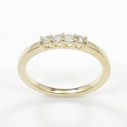 10金ゴールド(K10)、10金ホワイトゴールド(K10WG) ダイヤモンド一文字 0.075ct (SI2 H)リング
