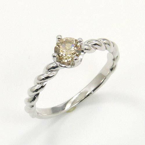 18金(K18)ホワイトゴールド ライトブラウンダイヤモンド リング 0.4カラット 一粒 送料無料