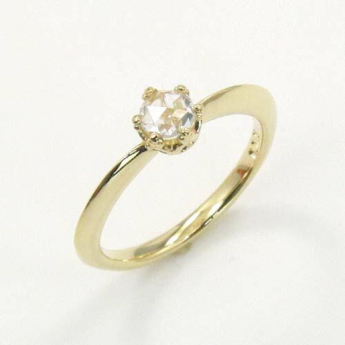 18金(K18) ダイヤモンド(SI1 H) ピンキー リング (ローズカットダイヤ 一粒) 送料無料