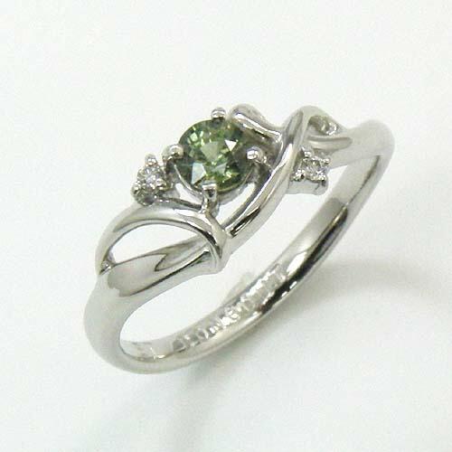 リングプラチナ(Pt900) グリーンサファイヤ 4mm ダイヤモンド 0.02カラット R 送料無料
