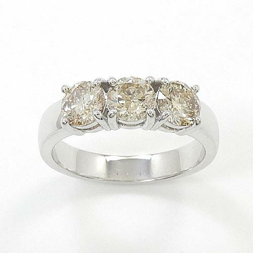 10金ホワイトゴールド(K10WG)ライトブラウンダイヤモンド 1ct リング送料無料