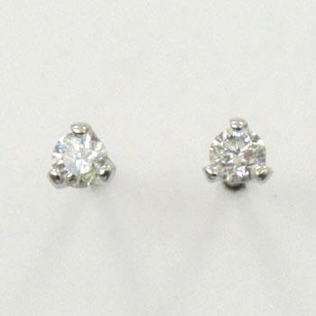 プラチナ(PT900) ダイヤモンド0.05ctx2三本爪ピアスtypeAA(通常芯・シリコンキャッチ付)