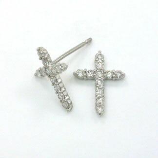 プラチナ(PT900) ダイヤモンド クロス ピアスtypeAAA(太さ0.9ミリ 長さ10ミリ芯/シリコンキャッチ付き)