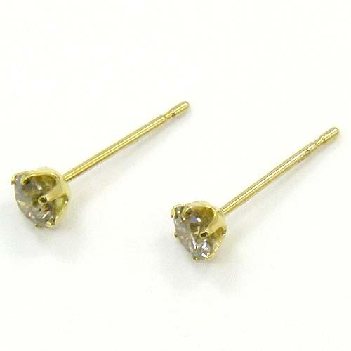 18金ゴールド ライトブラウンダイヤ0.2ctx2六本爪 ピアス(通常芯・シリコンキャッチ付)【送料無料】