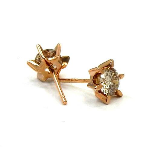 18金ピンクゴールド トータル0.6カラットライトブラウンダイヤモンド 0.3ctx2 六本爪ピアス(通常芯・シリコンキャッチ付)