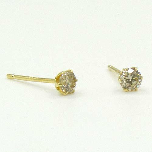 18金ゴールド ライトブラウンダイヤ(SI) 0.1ctx2六本爪ピアス(通常芯・シリコンキャッチ付)送料無料