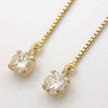 18金ゴールド(K18)ダイヤモンド typeAA 0.1カラットx2 アメリカンタイプ ピアス