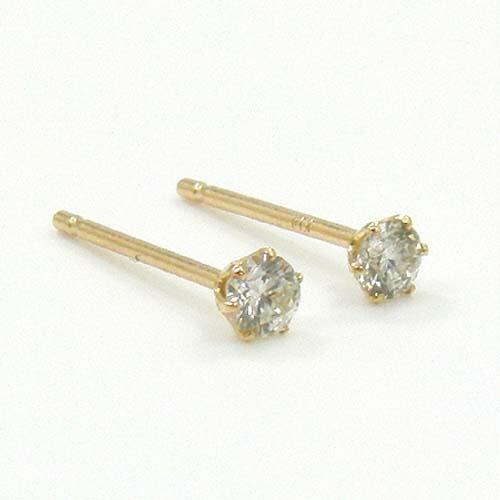18金ピンクゴールド ダイヤモンド typeAAA0.07ctx2ピアス(通常芯・シリコンキャッチ付)送料無料 即納(4日前後発送)