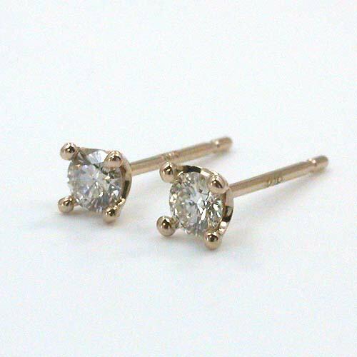 18金ピンクゴールド/18金ゴールドの2種類ございます。ダイヤモンド 0.1ctx2 ピアス typeAAA(太さ0.9ミリ 長さ12ミリ芯・シリコンキャッチ付)