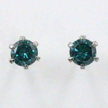 プラチナトータル0.2ctブルーダイヤモンド6本爪PE(PT900)ブルーダイヤ(VSクラス)0.1ctx2六本爪ピアス(シリコンキャッチ付)