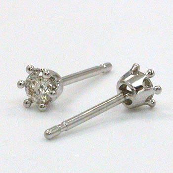 18金ホワイトゴールドダイヤモンド 0.1ctx2 六本爪ミルククラウンピアス typeAAAA(太さ0.9mmx長さ10mm芯・シリコンキャッチ付)送料無料 即納品(4日前後発送可能)