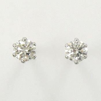 プラチナ(Pt900)ダイヤモンド 0.07カラットx2ピアスSI1クラリティ Hカラー(太さ0.9mmx長さ10mm芯・シリコンキャッチ付)