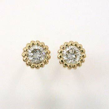 トータル0.2カラットダイヤモンド18金(K18)天然ダイヤ0.1ctx2psピアスtypeAAA(太さ0.9mmx長さ10mm芯・シリコンキャッチ付)