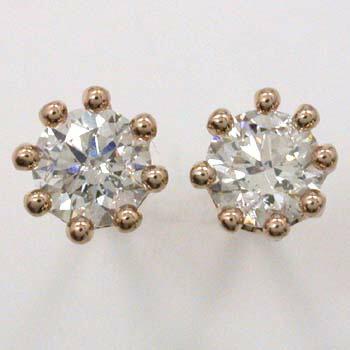 トータル0.7カラットダイヤモンド18金又はK18PG天然ダイヤミルククラウン八本爪ピアスtypeAA (シリコンキャッチ付)