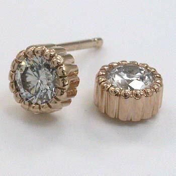18金ピンクゴールド ダイヤモンド0 25x2ピアスtypeAA 太さ0 9mmx長さ10mm芯・シリコンキャッチ付LzVSUMpqG