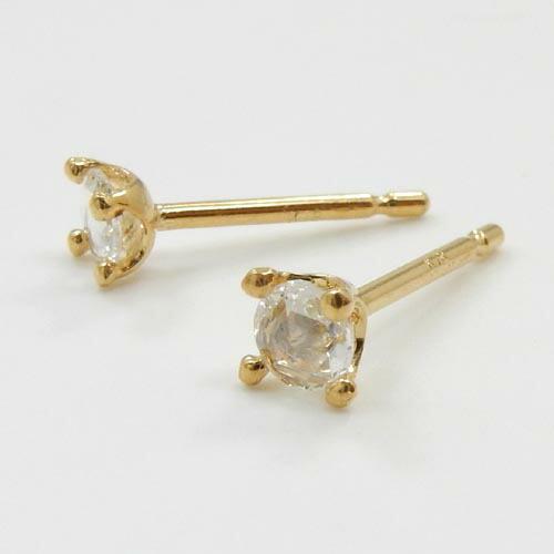 18金ゴールド ローズカット ダイヤモンド(VS2)ミルククラウン 四本爪ピアス(太さ0.9mmx長さ10mm芯・シリコンキャッチ付)送料無料