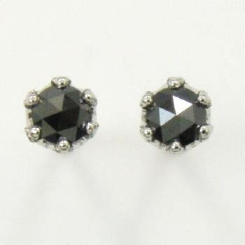 プラチナ(PT900)ブラックダイヤ(ローズカット)ピアス(太さ0.9mmx長さ12mm芯・シリコンキャッチ付)