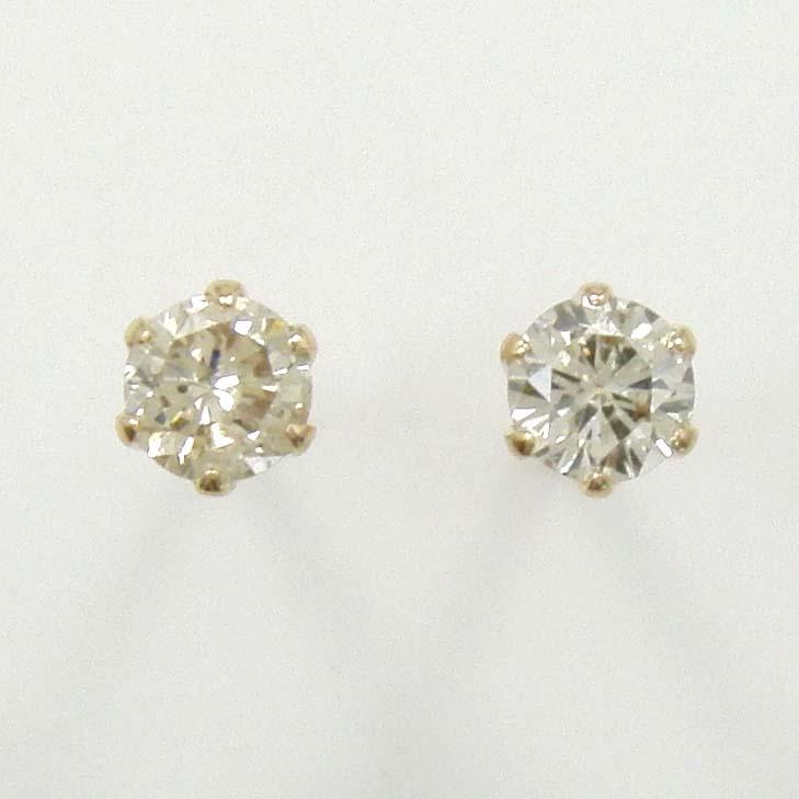 18金ピンクゴールド(K18PG)ライトブラウンダイヤモンド 0.13カラットx2石 ピアス(通常芯・シリコンキャッチ付)