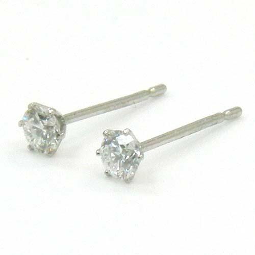 PT900 天然ダイヤモンド(VS2/H)0.08ctx2六本爪 ピアス(シリコンキャッチ付)
