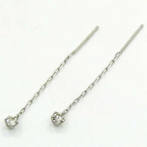 プラチナ ダイヤモンド0.1ctx2 typeAAA六本爪アメリカンピアス(Pt850チェーン)送料無料 即納品(4日前後発送可能)