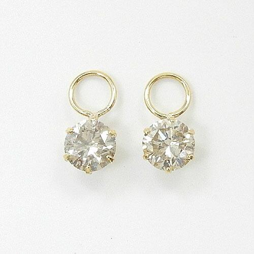 18金ゴールド(K18) ライトブラウンダイヤモンド 0.4カラットx2 (I1) チャーム (フープ用)送料無料