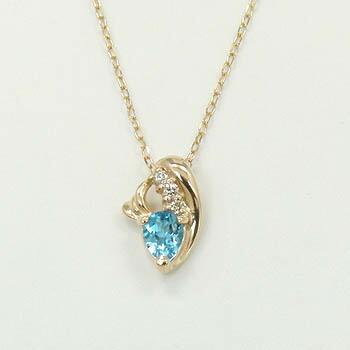 K10PG ブルートパーズダイヤモンドAAAネックレス
