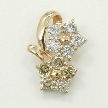 10金ピンクゴールド ダイヤモンド 0.25カラットtypeAライトブラウンダイヤモンド 0.25カラットコラボフラワーデザインペンダントヘッド