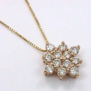 ダイヤモンド18金ピンクゴールド/18金ゴールド2種類からお選びいただけます。0.5カラット ダイヤモンド ペンダント ネックレスtypeAAA(PG ベネチェーン/K18 カットボールチェーン)