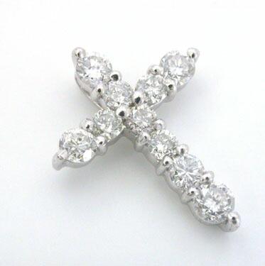 あす楽 プラチナ(PT900)ダイヤモンドクロスペンダントヘッドtypeAAA