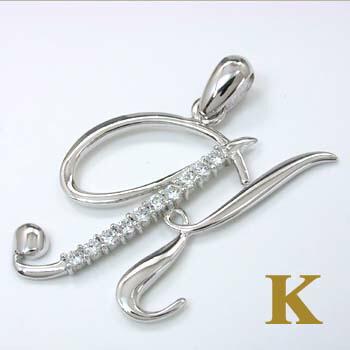 K18WG天然ダイヤイニシャルペンダントヘッド「K」typeAAA