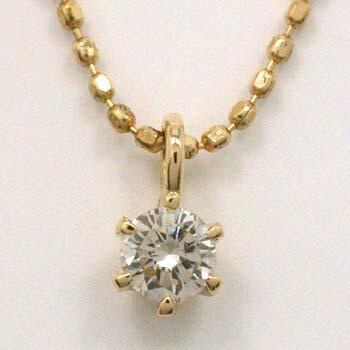 18金 ダイヤモンド0.1カラット(0.1ct)六本爪ペンダントネックレス typeAAA