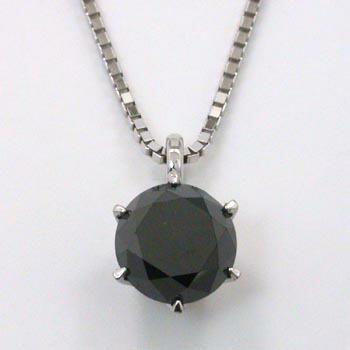 K18WG ブラックダイヤ プチネックレス
