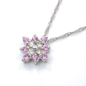 K18WG ピンクサファイヤ/天然ダイヤプチネックレス