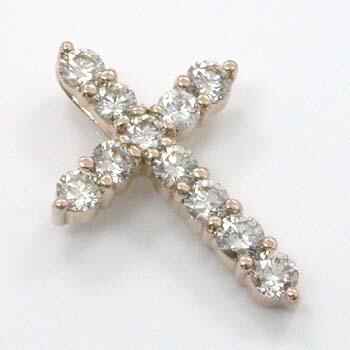 ダイヤモンド0.5カラット18金ピンクゴールド(K18PG)天然ダイヤトータル0.5ctクロスペンダントヘッドtypeAAA