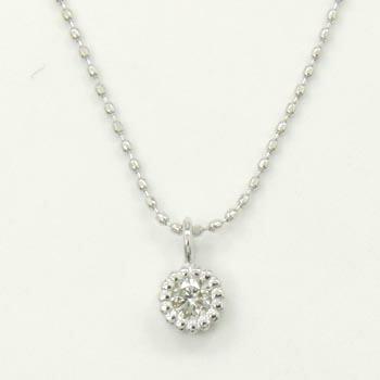 10金ホワイトゴールド ダイヤモンド typeA+ネックレス(カットボールチェーン 長さ40センチ)